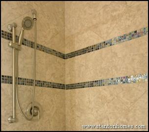 Bathroom Glass Tile Tub. Showers with Listello Mini Mosaic Tile Accents Bathroom Trends  Custom Designs