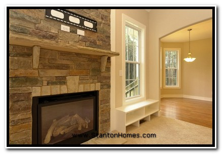 """Idea #3: 42"""" Fireplace with Raised Hearth and Framed TV Area"""