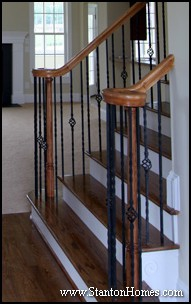 Over the Post Staircase Picture   Staircase Design Ideas   Raleigh Custom Home Builders