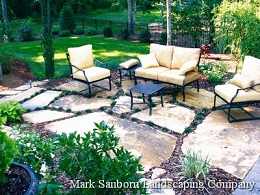 Outdoor seating and dining areas