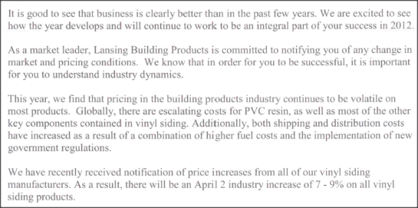 Vinyl Siding Cost Increas