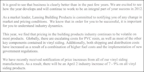 Vinyl Siding Cost Increas