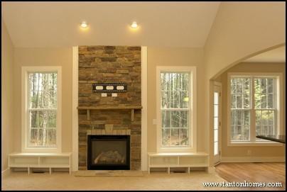 Stone Surround Fireplace Ideas Nc Custom Homes
