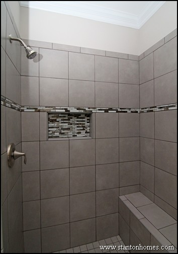 showers with a bench tile shower seat