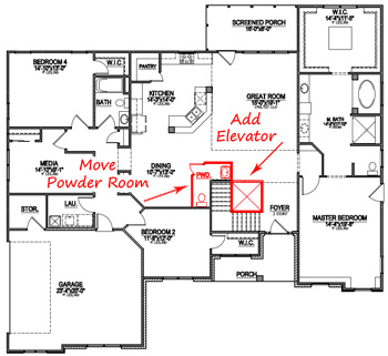 How to customize a floor plan custom home design for Home built elevator plans