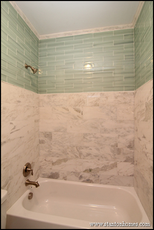 Bathtub Tile Surrounds   Raleigh Custom Homes. Tile Bathtub Surrounds   White  Black  and Gray Tile Designs