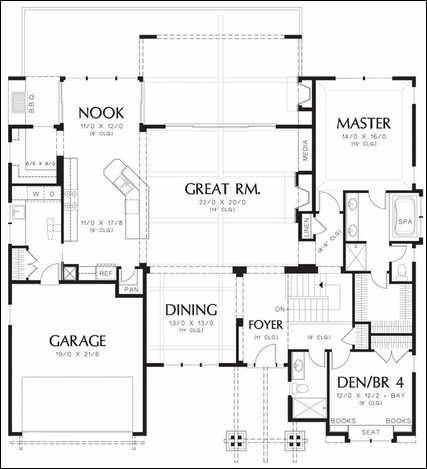 One story floor plans with basement