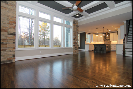 Raleigh custom home builder   Coffered ceiling