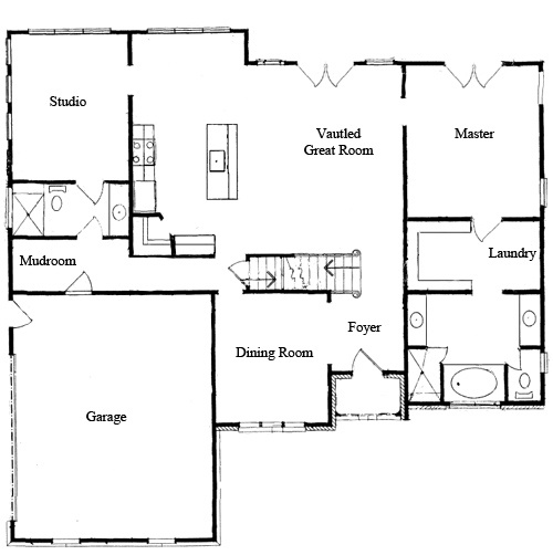 Top 5 downstairs master bedroom floor plans with photos for Homes with master bedroom on first floor for sale
