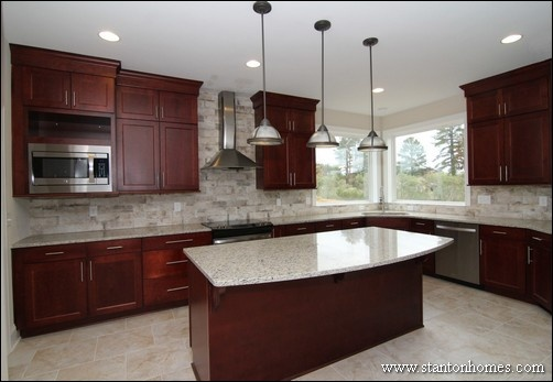 Shaker Style Cabinets #3: Maple Wood Cabinets With Cranberry Stain