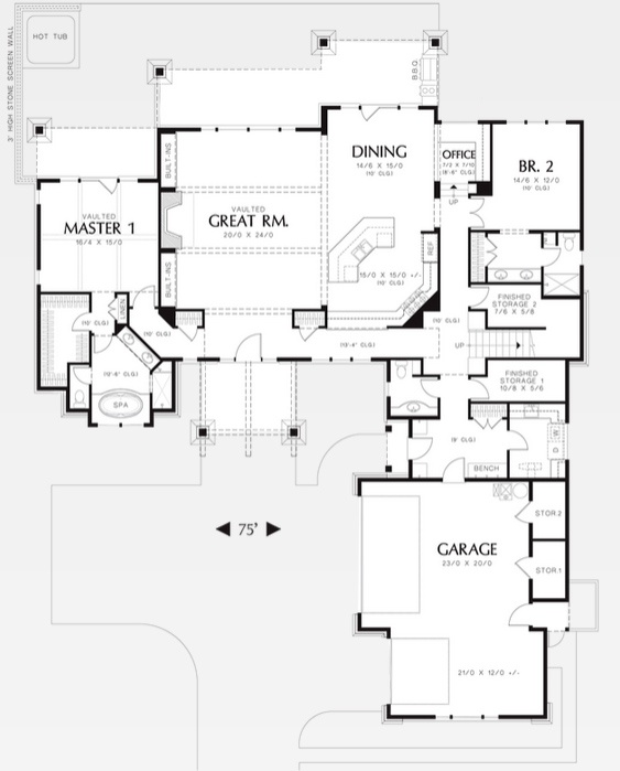 House Plans First Floor Master: Lake House Plans With Two Master Suites